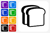 Bread Slices Icon Square Button Set. The icon is in black on a white square with rounded corners. The are eight alternative button options on the left in purple, blue, navy, green, orange, yellow, black and red colors. The icon is in white against these vibrant backgrounds. The illustration is flat and will work well both online and in print.