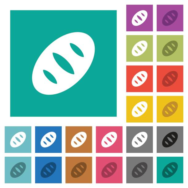 quadratische flache brot multi farbige symbole - winkelküche stock-grafiken, -clipart, -cartoons und -symbole
