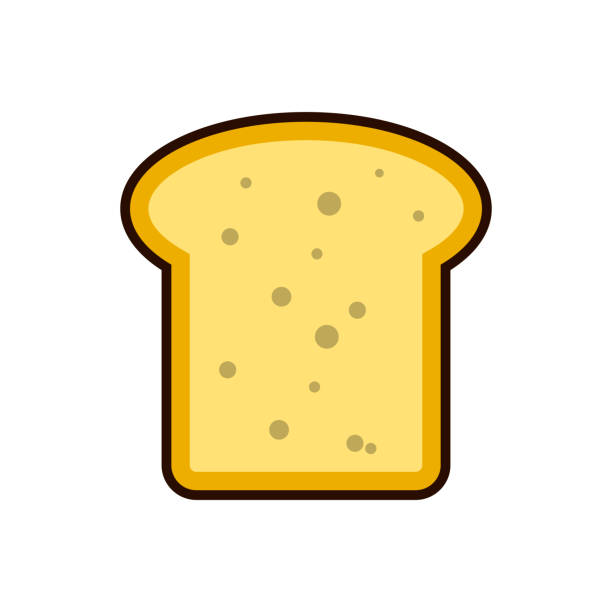 bread toast slice icon Breakfast, protein rich dairy product. Flat vector illustration vector art illustration