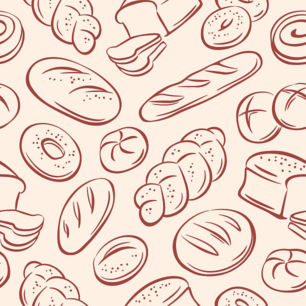 Bread Bread, seamless background bread backgrounds stock illustrations