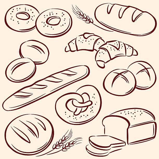 Bread Bread, pencil drawing illustration bread drawings stock illustrations