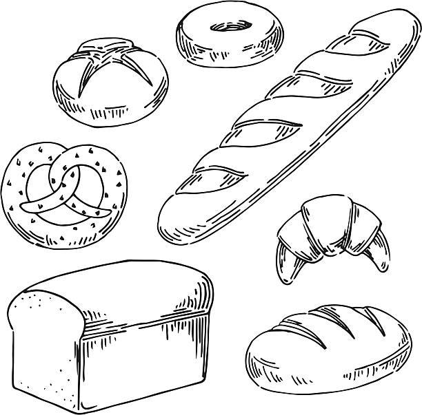 Bread Vector illustration of bread. bread drawings stock illustrations