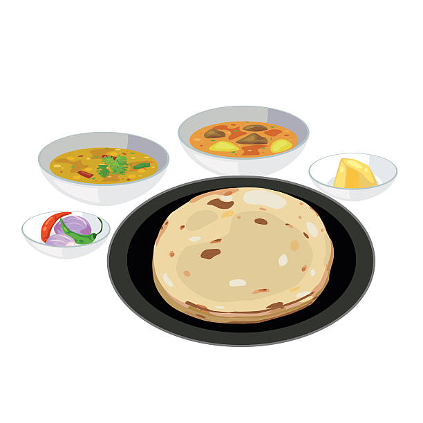 roti - indian food stock illustrations, clip art, cartoons, & icons
