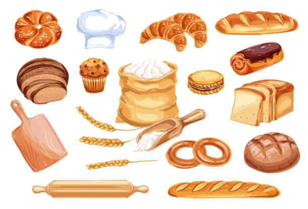aquarell symbol brot bäckerei und konditorei lebensmittel - mehl stock-grafiken, -clipart, -cartoons und -symbole