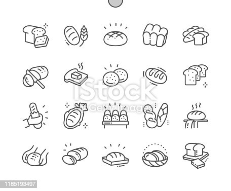 Bread Well-crafted Pixel Perfect Vector Thin Line Icons 30 2x Grid for Web Graphics and Apps. Simple Minimal Pictogram