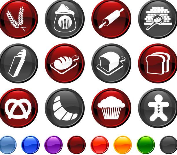 brot und brot macht lizenzfreie vektor icon-set - dinkelbrot stock-grafiken, -clipart, -cartoons und -symbole