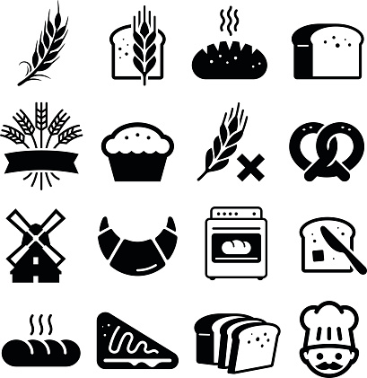 Breads And Grains Icons - Black Series