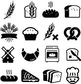 Bakery and bread icon set. Professional vector icons for your print project or Web site. See more in this series.
