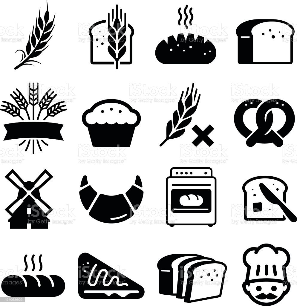 Breads And Grains Icons - Black Series向量藝術插圖
