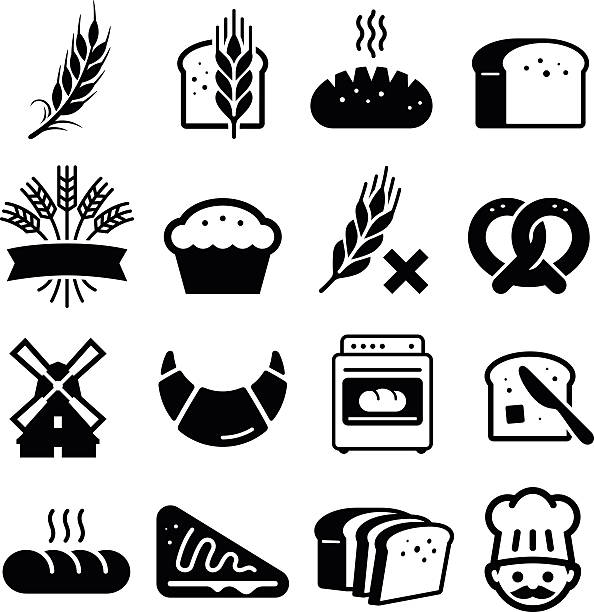 Breads And Grains Icons - Black Series Bakery and bread icon set. Professional vector icons for your print project or Web site. See more in this series. bread clipart stock illustrations