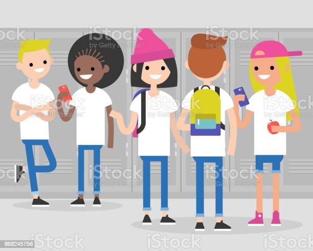 Break at school conversation front and rear views of teenagers at vector id868245756?b=1&k=6&m=868245756&s=612x612&h=mdoxnjsm5nvzxun rawydegak4ofvc0umwarjkvwyla=