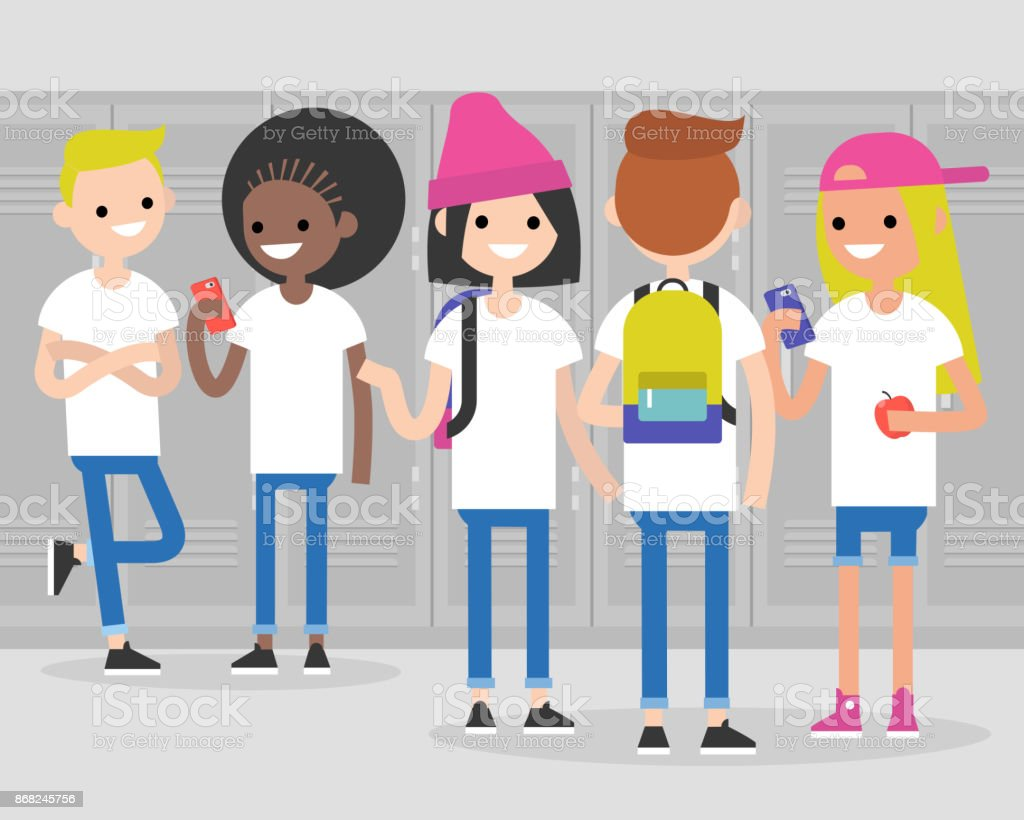 Break at school. Conversation. Front and rear views of teenagers at school corridor. Multiracial friends. Millennials at school. Generation z / flat editable vector illustration, clip art vector art illustration