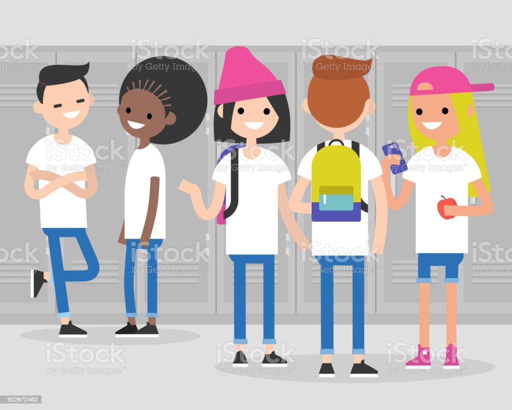 学校で中断します。会話。フロント、サイド、廊下でティーンエイ ジャーのリアビュー。多民族千年の友達。生成 z/平らな編集可能なベクトル イラスト、クリップアート ベクターアートイラスト