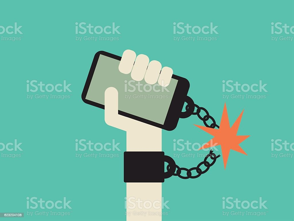 Break free from smartphone and technology addiction vector concept. Hand vector art illustration