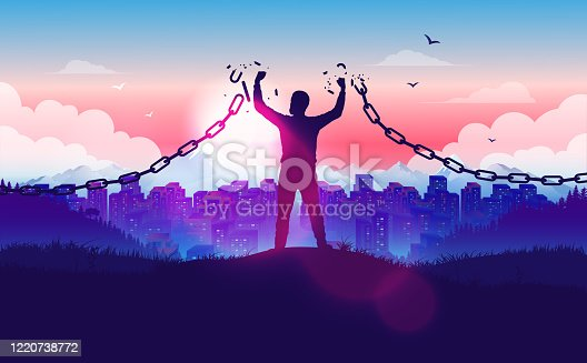 Freedom, liberation, hope and justice concept in vector illustration.