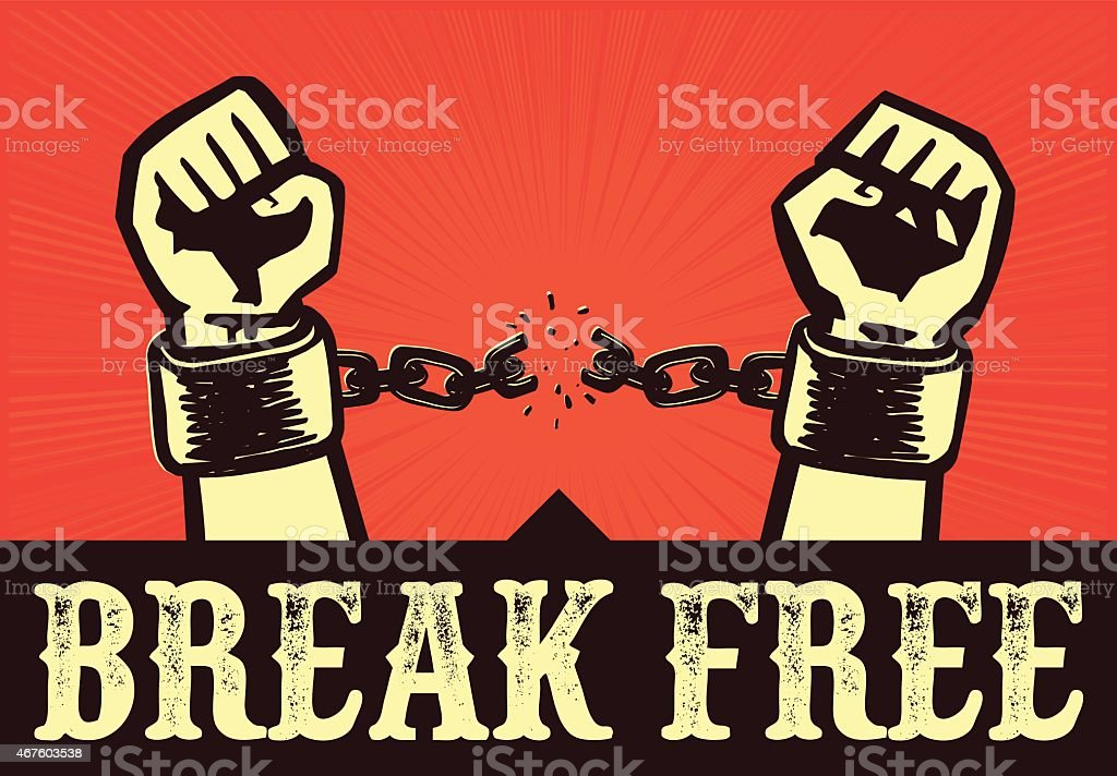 Break free! Hands with clenched fists breaking bonds or chains vector art illustration