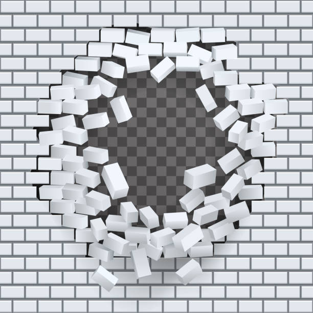 Break Hole In Brick Wall Destruction Template Transparent Background Vector Illustration Art