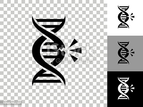 istock DNA Break Icon on Checkerboard Transparent Background 1248740707
