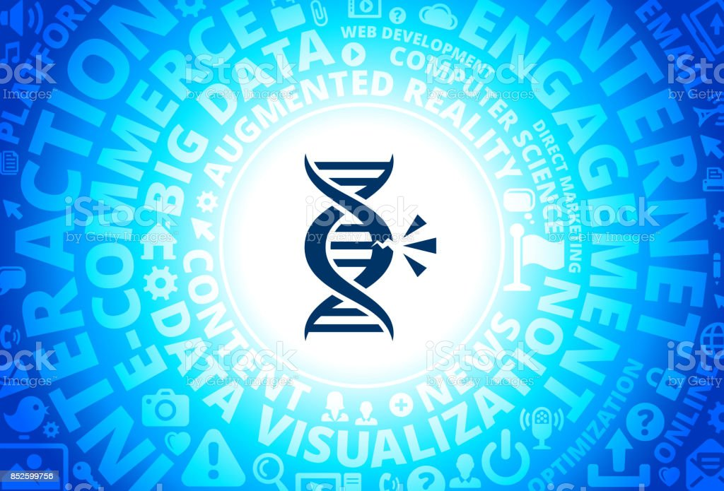 DNA Break Icon on Internet Modern Technology Words Background vector art illustration