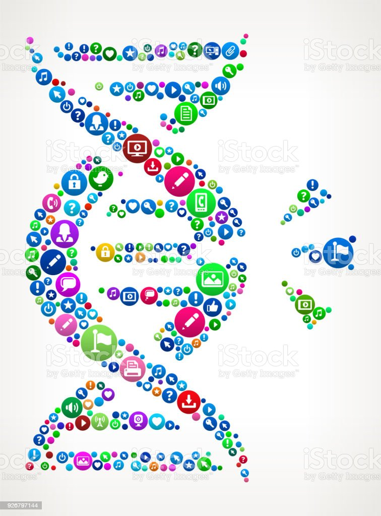 DNA Break Internet Communication Technology Icon Pattern vector art illustration