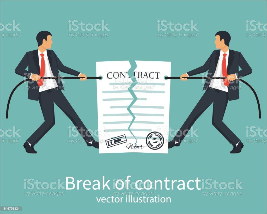 Quebra de um contrato - ilustração de arte em vetor