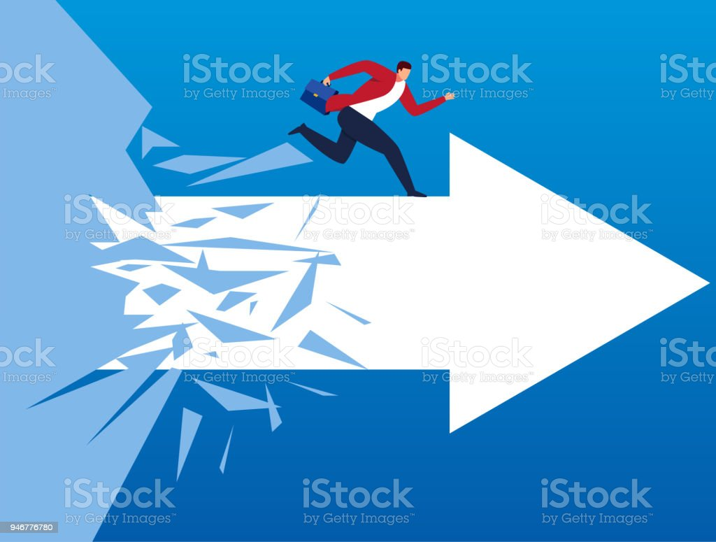 Break through obstacles and march forward vector art illustration