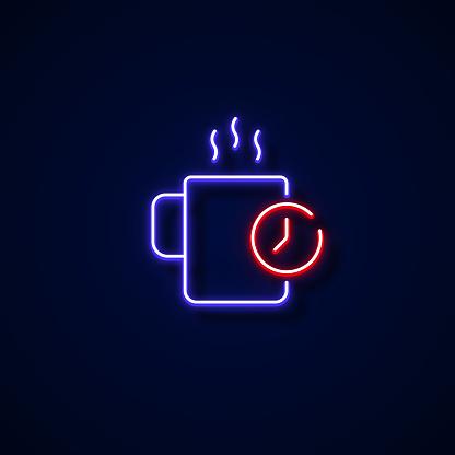Break Time Icon Neon Style, Design Elements