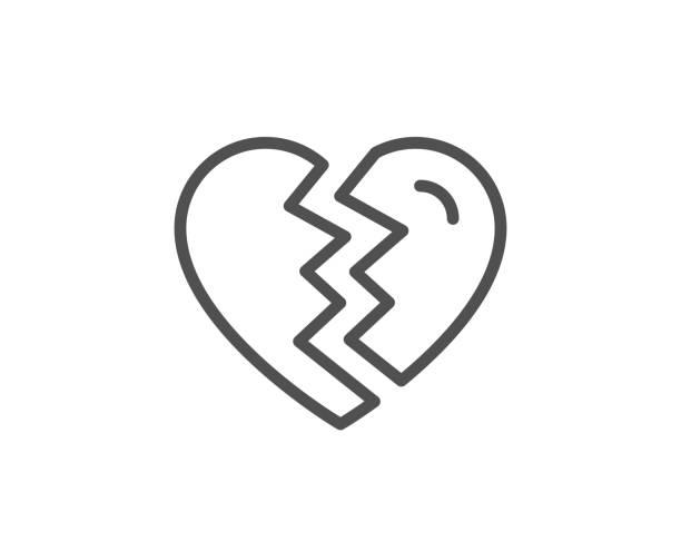 illustrazioni stock, clip art, cartoni animati e icone di tendenza di break up love line icon. divorce sign. - divorzio