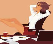 Female office worker during short break. Eps and hi-res jpg.