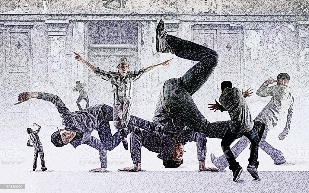 Breakdance Montage vector art illustration