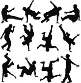 12 unique breakdancer silhouettes.