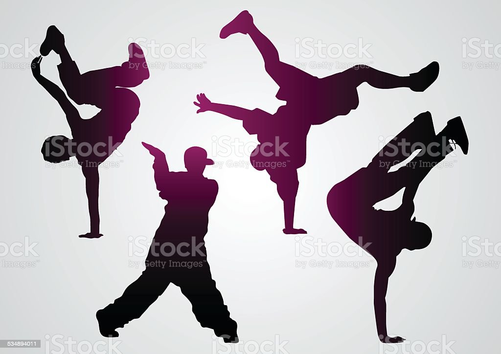 Breakdancers  black silhouettes vector art illustration
