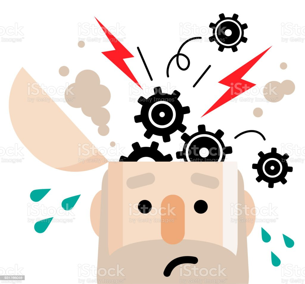 Breakdown concept, senior man with open head and popping gear vector art illustration