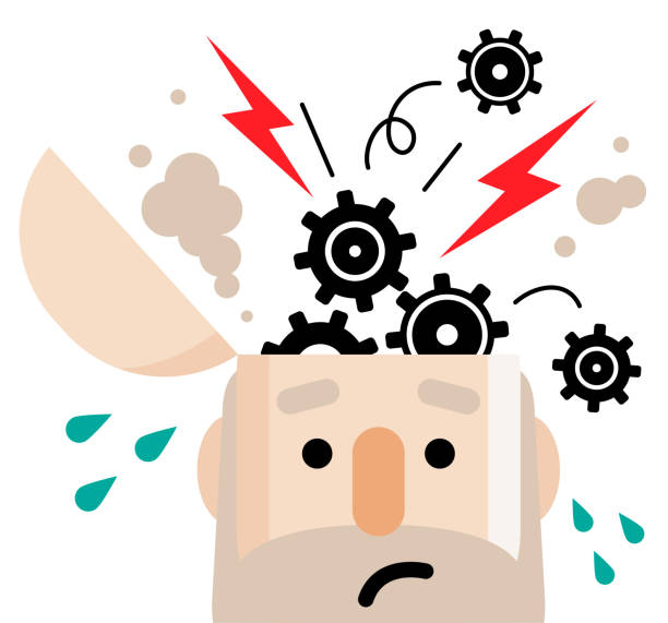 breakdown concept, senior man with open head and popping gear - stress stock illustrations, clip art, cartoons, & icons