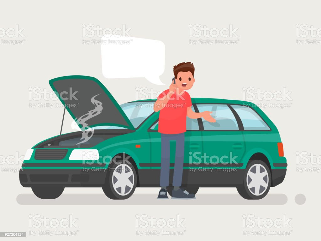 Breakdown of the car on the road. A man calls the service to help. Vector illustration - Royalty-free Adult stock vector