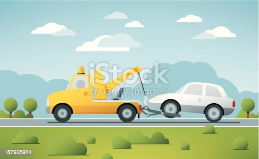 Vector Illustration of a Breakdown Service Truck towing a broken Car in a rural landscape. The colors in the .eps-file are ready for print (CMYK). Transparencies used. All objects are on separate layers. Included files: EPS (v10) and Hi-Res JPG.
