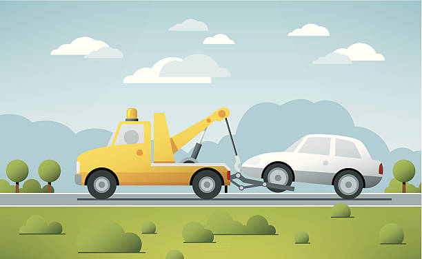 Breakdown Service Tow Truck Vector Vector Illustration of a Breakdown Service Truck towing a broken Car in a rural landscape. The colors in the .eps-file are ready for print (CMYK). Transparencies used. All objects are on separate layers. Included files: EPS (v10) and Hi-Res JPG. transportation stock illustrations