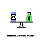Break-Even Point Line Icon