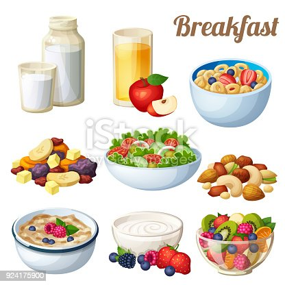 istock Breakfast 2. Set of cartoon vector food icons isolated on white background 924175900