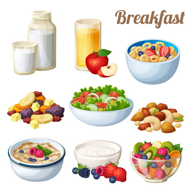 Breakfast 2. Set of cartoon vector food icons isolated on white background Breakfast 2. Set of cartoon vector food icons isolated on white background. Milk, apple juice, cold cereal, nuts dried fruits, greek salad, oatmeal yohurt, fruit salad cereal plant stock illustrations