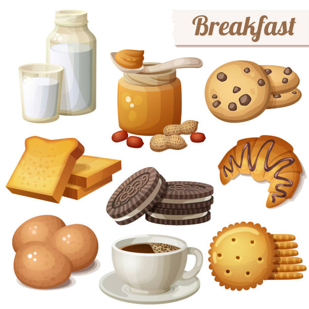 Breakfast 3. Set of cartoon vector food icons vector art illustration