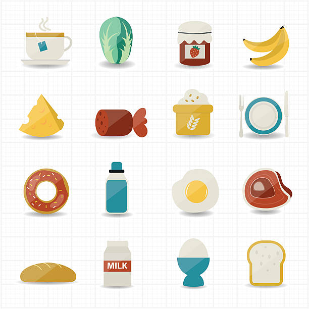bildbanksillustrationer, clip art samt tecknat material och ikoner med breakfast and food icons - coffe with death