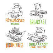 Vector breakfast banners. Hand drawn jug of milk, coffee pot, cup, juice, sandwich and fried eggs. Retro style pancakes, toast with jam, croissant, cheese and flakes with milk for menu design.