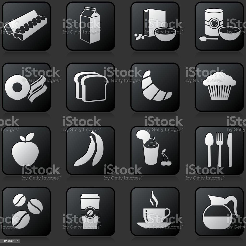 breakfast button set on a dark Background vector art illustration