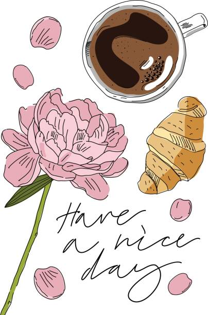 朝食、コーヒー、クロワッサン、牡丹カード。手には、ベクター グラフィックが描画されます。手描きのレタリング「ある素敵です日」 - フランス料理点のイラスト素材/クリップアート素材/マンガ素材/アイコン素材