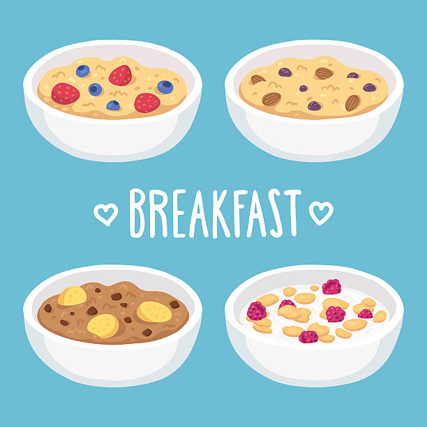 Breakfast cereal bowls Hand drawn breakfast bowl set. Oatmeal and cereal with fruits, chocolate and nuts. banana drawings stock illustrations