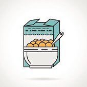Flat color design vector icon for box and bowl with cereal on white background. Breakfast menu