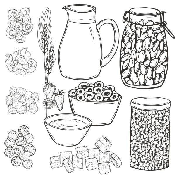 illustrazioni stock, clip art, cartoni animati e icone di tendenza di breakfast cereals set. vector  illustration - corn flakes