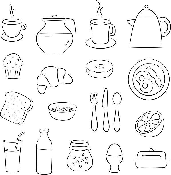 illustrations, cliparts, dessins animés et icônes de icônes clip art petit déjeuner - infusion pamplemousse