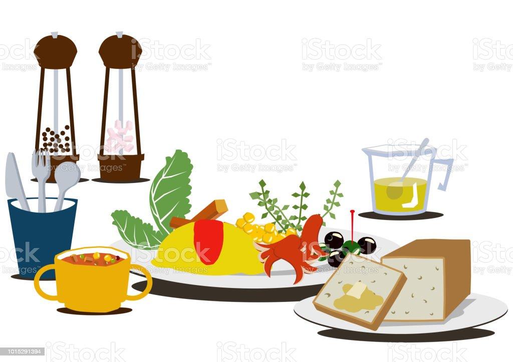 朝食のクリップアートテーブルの上に卵料理があります健康的な朝食の